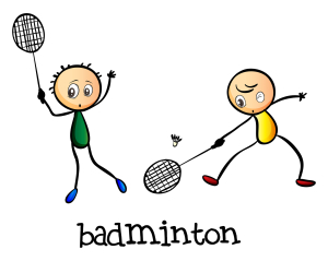 Illustration of the badminton players on a white background